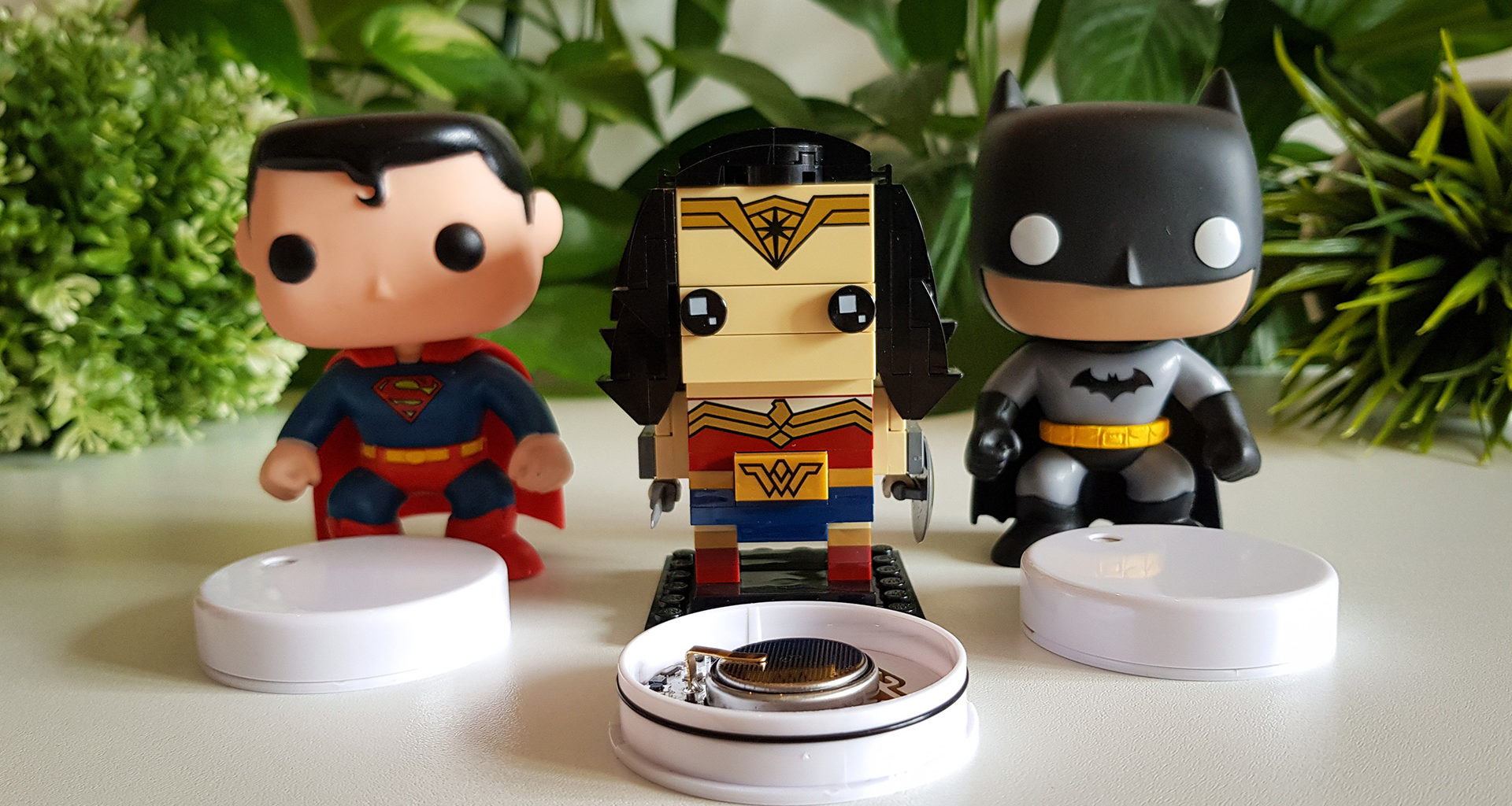 Superman, Batman and Wonder Woman with RuuviTags
